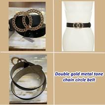Luxury Double gold metal tone chain circle belt buckle black size M ship... - $49.95