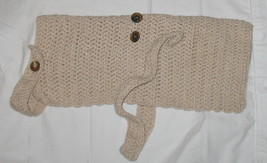 Handcrocheted Medium Beige Dog Sweater Coat - $12.95