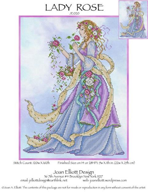 Lady Rose JE020 cross stitch chart Joan Elliott Designs - $14.00