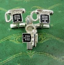 Pushbutton Telephone Cufflinks & Tie clip Vintage Phone clasp set  Business Tele - $110.00