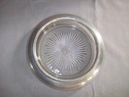 Silver Tone Rim Candy Nut Dish Bottle Holder Glass Bowl Sun Burst Base  - $12.95