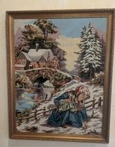 Vintage Creations Margot De Paris Finished Canvas Scene Hivernale Tapestry - $69.29