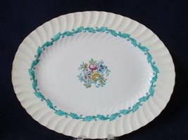 "Minton Ardmore Ivory Rim Turquoise Floral Swirl Bone China 12"" Platter 1939-74 - $115.00"