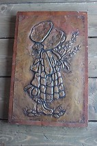 Vintage Copper Hammered Art Girl Wall Hanging on Wood  - $59.40