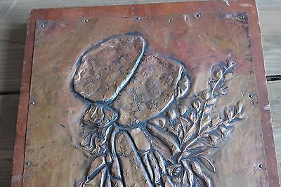 Vintage Copper Hammered Art Girl Wall Hanging on Wood