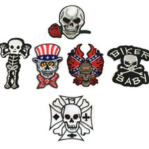 Skull Iron On Transfer Embroidered Motorcycle Outlaw Biker Patches For V... - $5.05+