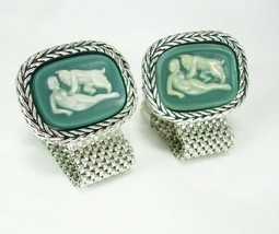 Grotesque Erotic Cufflinks Nude Pan & Lover Incolay Demon Mythical Devil... - $425.00