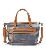 Fossil Dawson Denim Cotton Nickel Roller Zipper Closure Satchel - £201.86 GBP