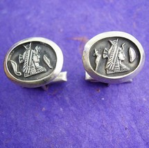 800 Silver Egyptian Cleopatra Cufflinks Vintage Historical icon Snake He... - $155.00