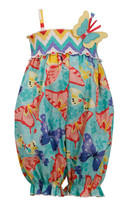 Baby Girls Newborn Butterfly Print Smocked Romper