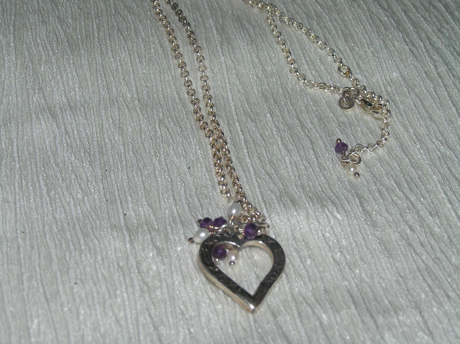 Estate 925 Marked Silver Dainty Open Circle Chain w Heart & Faux Pearl & Purple