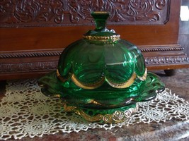 1890's EAPG Riverside Glass Co Emerald Green & Gold Empress Pattern Cove... - $64.35