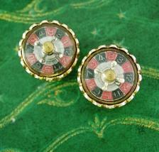 Roulette Wheel Cuff links THAT SPINS Casino Cufflinks Vintage Gambling M... - $295.00