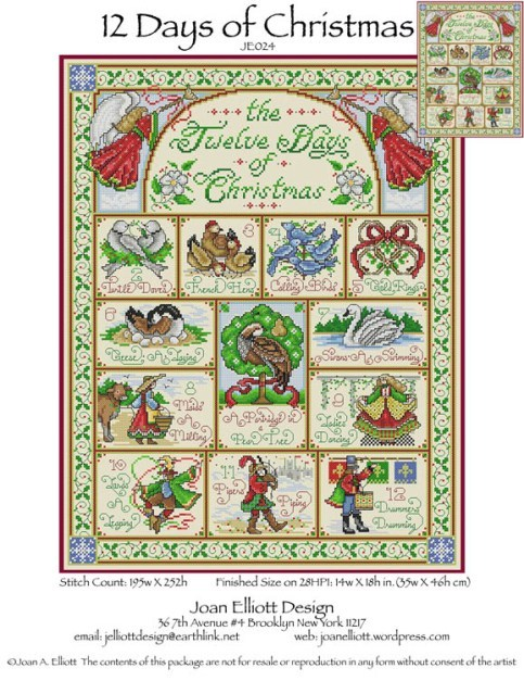 Primary image for 12 Days Of Christmas JE024 cross stitch chart Joan Elliott Designs