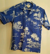 Helenas Hawaiian Islands Map Blue Shirt Size Small Made in Hawaii USA Blue - $19.30