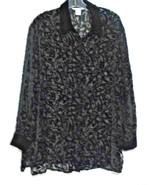 Annie Alexander Large Black Silk Rayon Long Sleeve Cut Velvet Over Blous... - $11.72