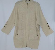 Simply Noelle Brand JCKT222SM Womens Pearl Zipper Knit Sweater Jacket Size SM image 1