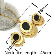 Famous Brand Roman Numberal Jewelry Set Stainless Steel dubai earring necklace S image 2