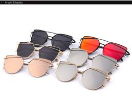 Women Mirror Flat Lenses Cat Eye Sunglasses Classic Twin Beams Rose Gold... - $9.98