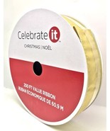 "Christmas Wire-edge Gold Metallic Ribbon Jumbo Roll 2.5"" x 200 FT (66.6 ... - $29.69"