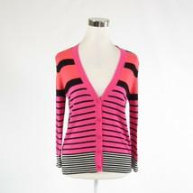 Pink orange uneven striped cotton blend ANN TAYLOR LOFT cardigan sweater S - $24.99