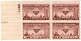 1951 American Chemical Society Plate Block of 4 US Stamps Catalog 1002 MNH