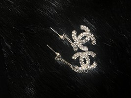 SALE* AUTH CHANEL 2019 LARGE CC LOGO Crystal Dangle Drop SILVER Earrings image 7