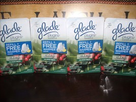 Glade Plugins Scented Oil refills HOLLY BERRY 4 Kits 1 Warmer 1 Refill i... - $29.45