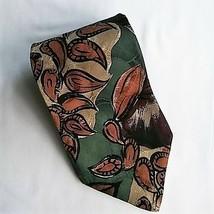 Christian Dior Monsieur Silk Mens Necktie Tie Green Brown Flower Petals ... - €12,85 EUR