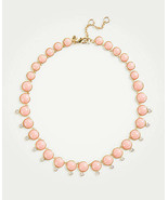 """Ann Taylor Statement Necklace Luminous Pink Stone Crystal Crop 16"""" Lobst... - $29.69"""