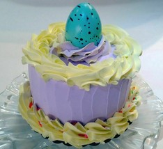 "Easter Cake 6"" Faux Cake- Purple& Yellow Fake Cake  Prop Decoration - $23.75"