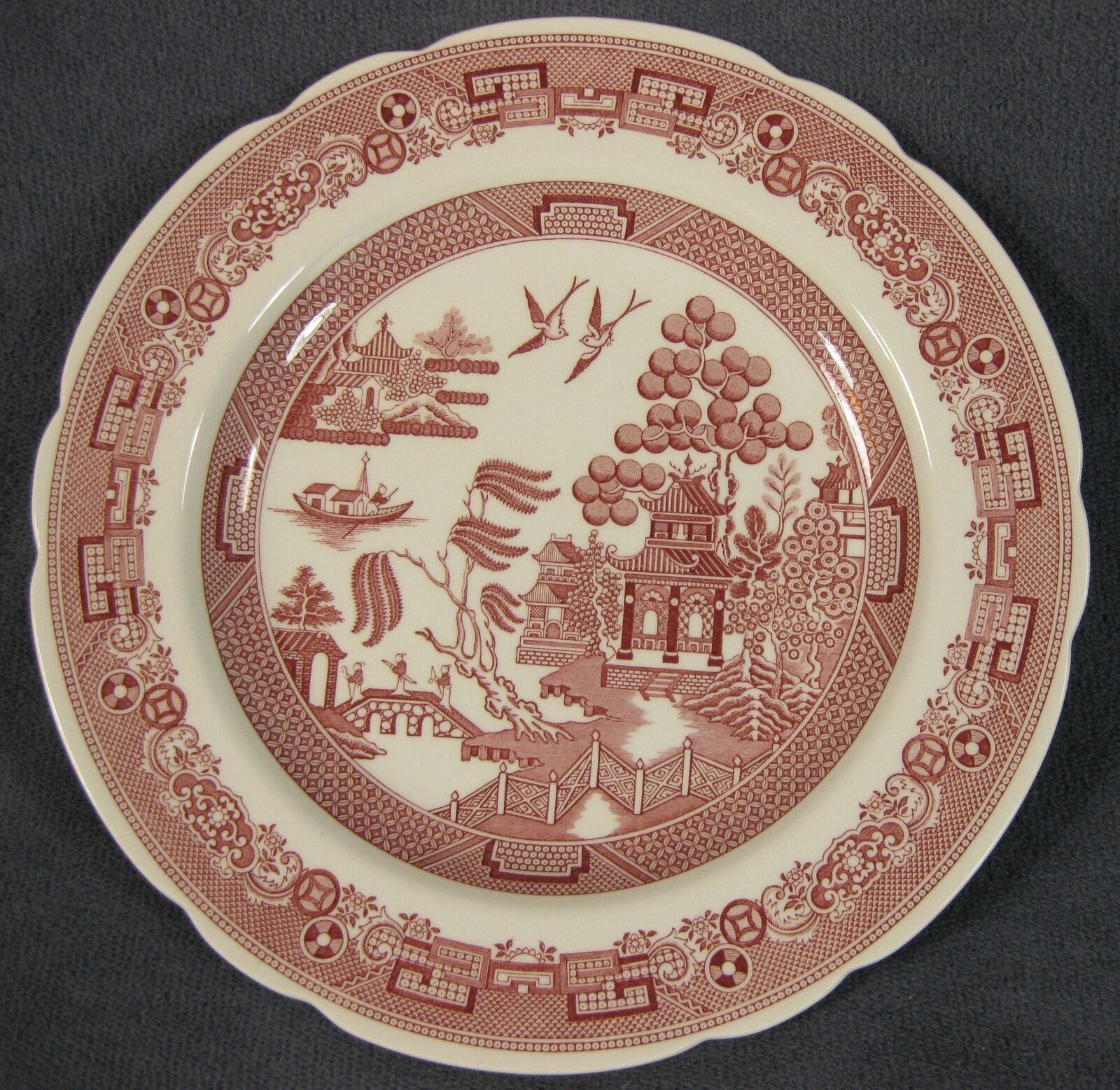 Spode Archive Collection Cranberry Willow Luncheon Plate Georgian Series England - $21.95