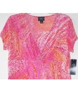 Chaps Ralph Lauren Surplice Tank Top V Neck Surplice Orange Pink Dot Top... - $29.99