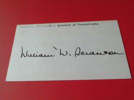 GOVERNOR  WILLIAM  W. SCRANTON   ORIGINAL  SIGNED  AUTOGRAPHED  INDEX  C... - $49.99