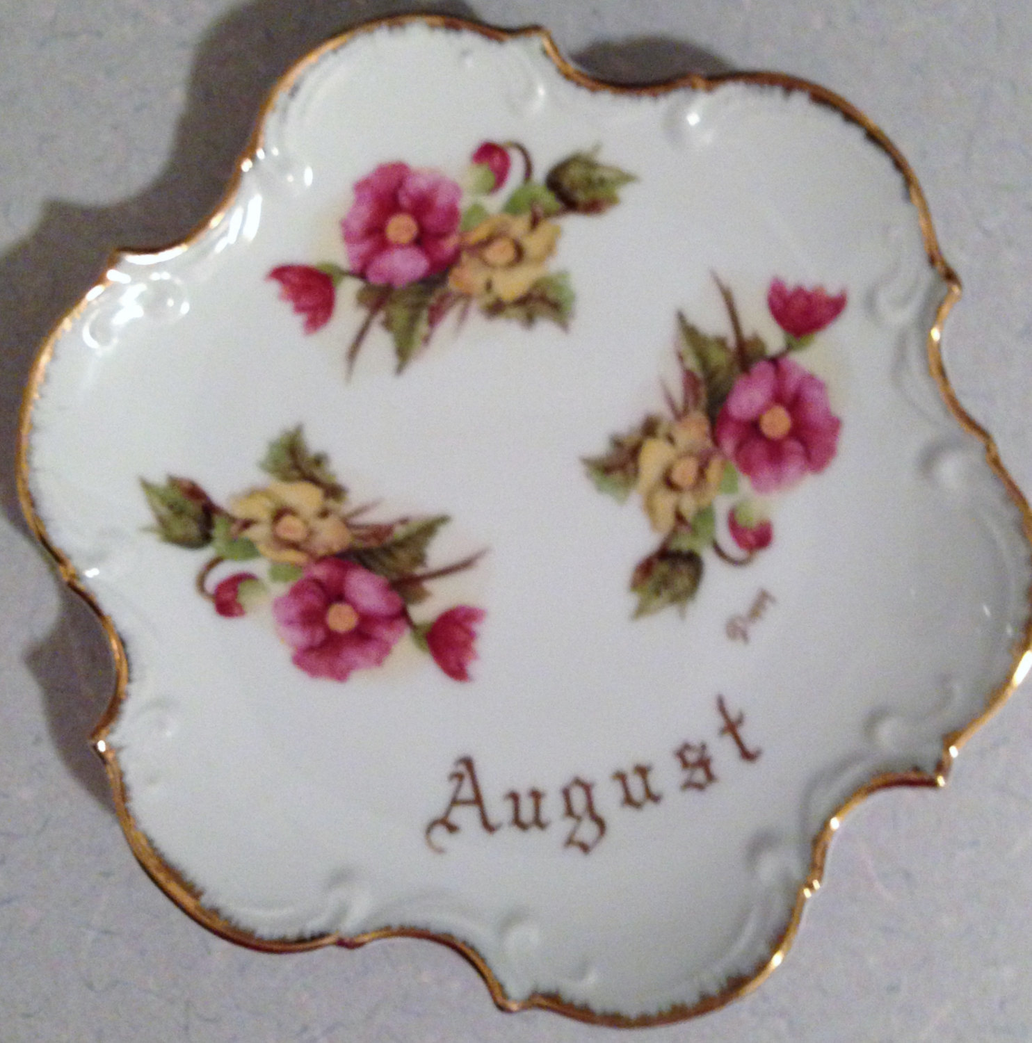 August Birth Month Plate Poppy Flowers Gold And 10 Similar Items