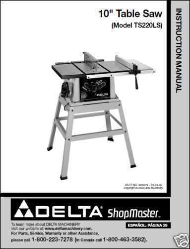Primary image for Delta ShopMaster Table Saw Model TS220LS  Manual