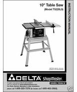 Delta ShopMaster Table Saw Model TS220LS  Manual - $10.88