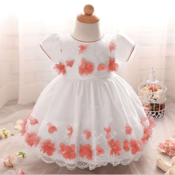 Lovely Pink  Lace Flower Girl Dress little Bady Dresses Caoed Sleeve Wedding Bow