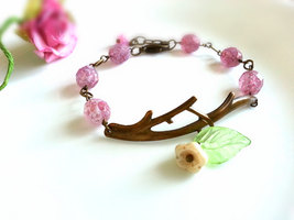 Antique Brass Branch Bracelet Pink Czech Glass Beads Bell Flower Charm B... - $32.00