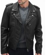 Men black biker leather jacket, Black leather jacket for men, Men leathe... - $169.99