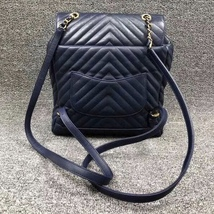 AUTH CHANEL NAVY BLUE CHEVRON QUILTED LEATHER LARGE URBAN SPIRIT BACKPACK SHW image 2