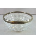 Vintage Decorative Waterford Design Pressed Glass W/ Silver Plate Bowl  - $49.50