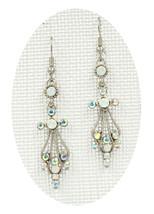 Fabulous New White Clear AB Crystal Angel Cross Dangle Drop Pierced Earr... - ₹1,439.52 INR