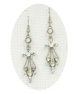 Fabulous New White Clear AB Crystal Angel Cross Dangle Drop Pierced Earr... - $20.00
