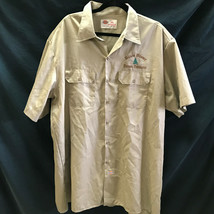Blue River Forest Products Camp Shirt Button Up 2XL Beige Dickies - $47.49