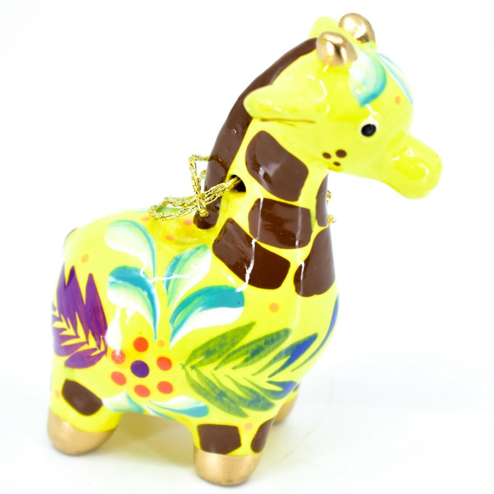 Handcrafted Painted Ceramic Yellow Giraffe Confetti Ornament Made in Peru