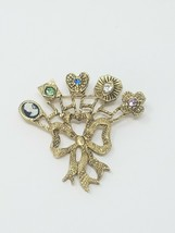 Vtg brooch pin bouquet gold tone ribbon - $24.75