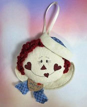 Hand Made Fabric Raggedy Andy Face Christmas Ornament My Heart Belongs T... - $9.85