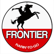 Frontier Motor Oil Reproduction Garage Art Metal Sign 18x18 Round - $46.53