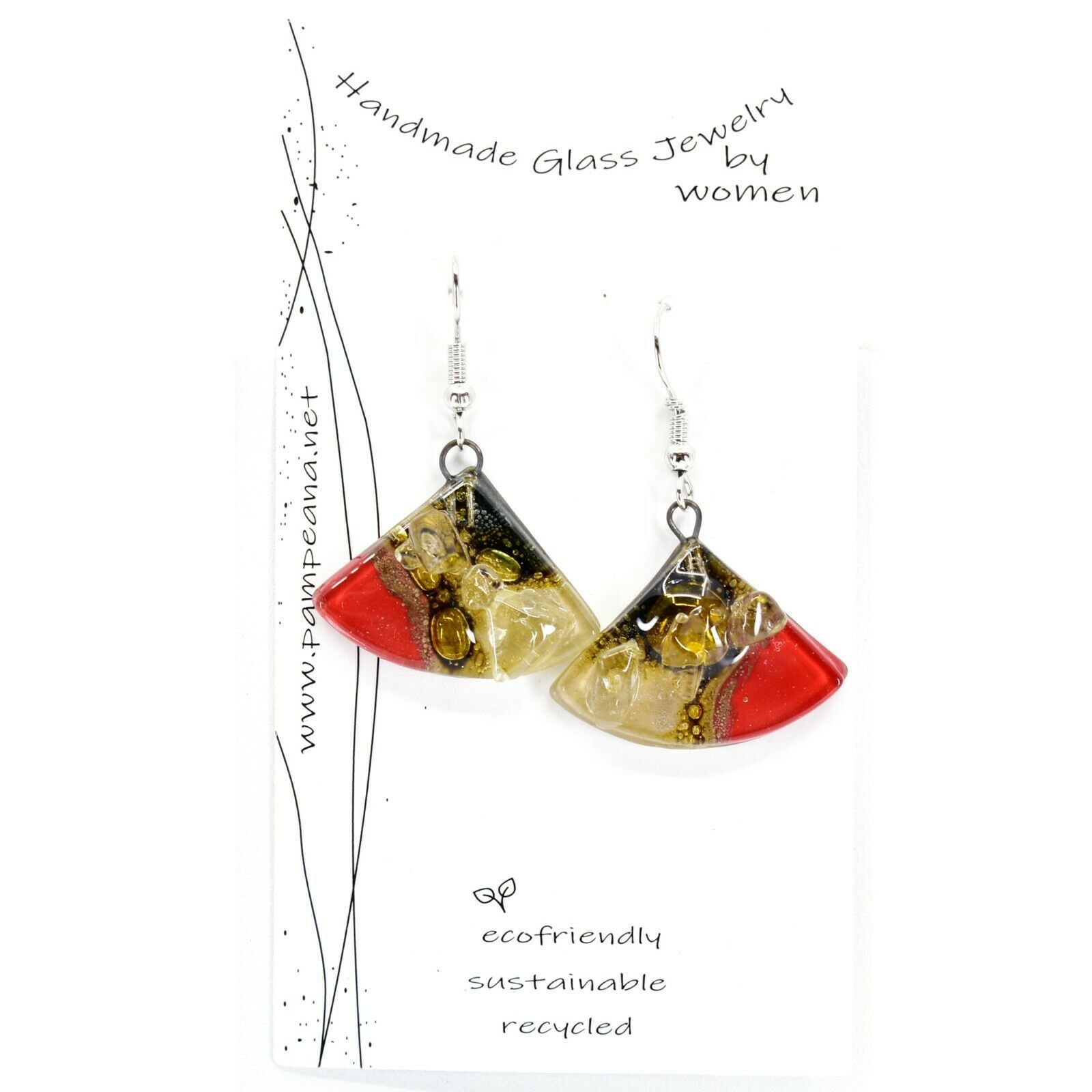 Handmade Recycled Fused Glass Red & Brown Triangle Hook Earrings Made Ecuador